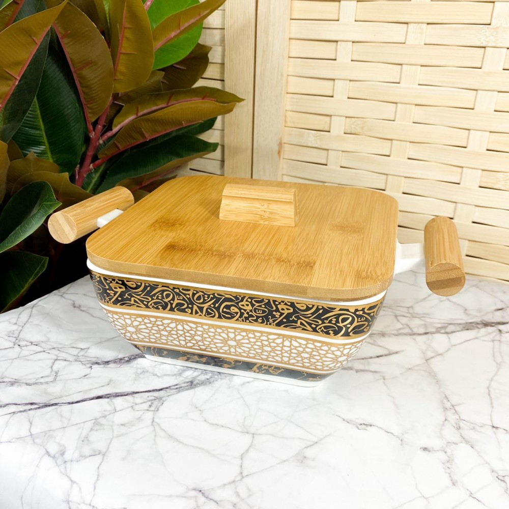 Ceramic dish with wood cover