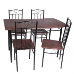 Dining table 5 pieces - brown
