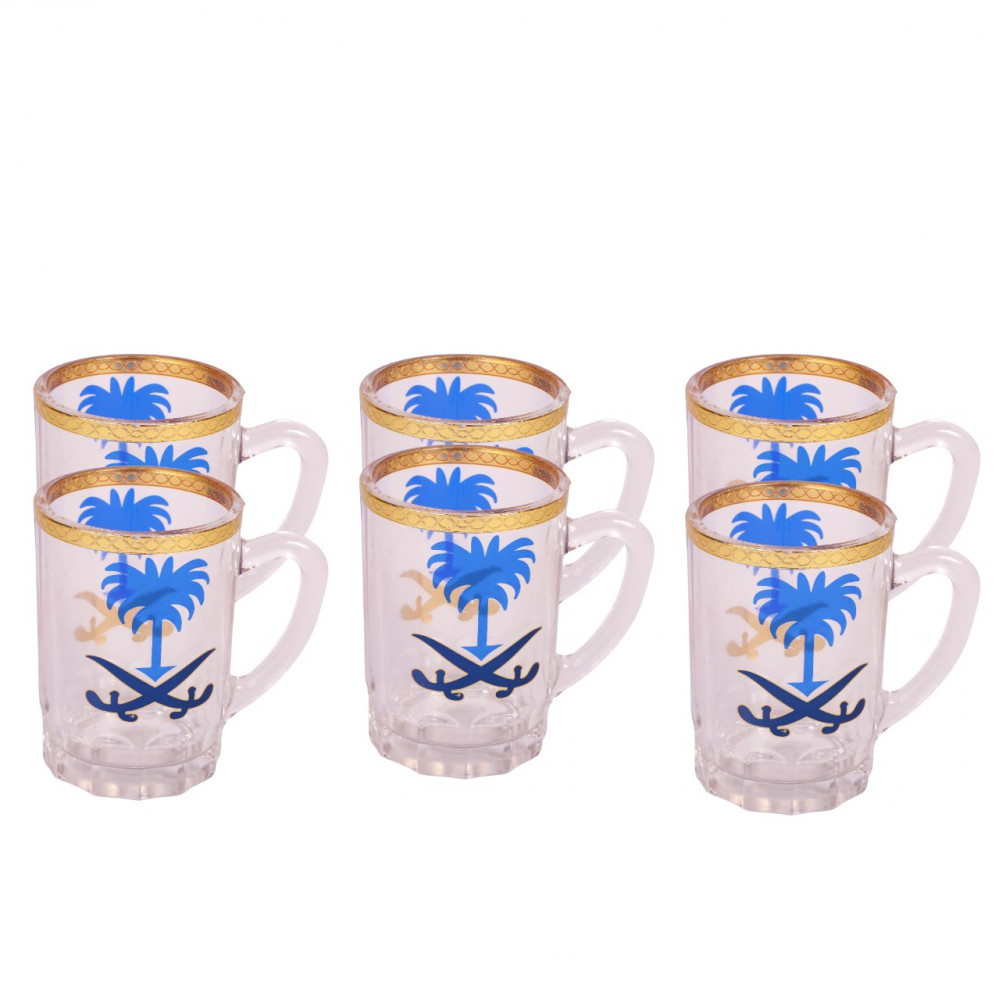 Pialat Tea with Seven and Palm design 6 pcs