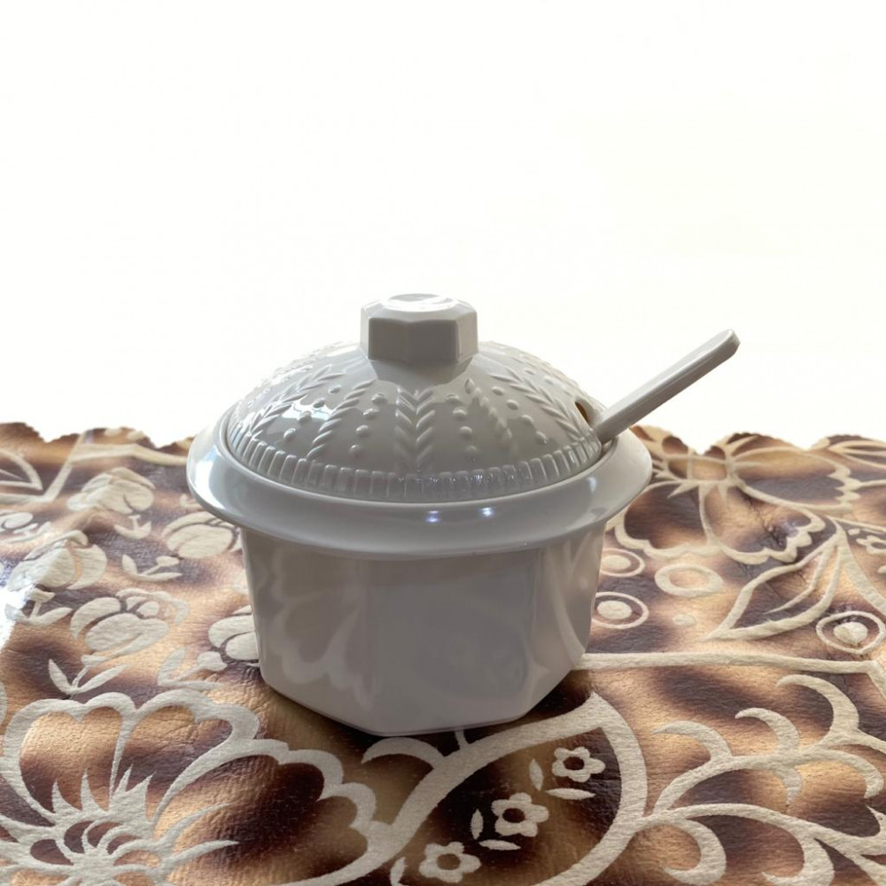 Sugar melamine with lid and spoon