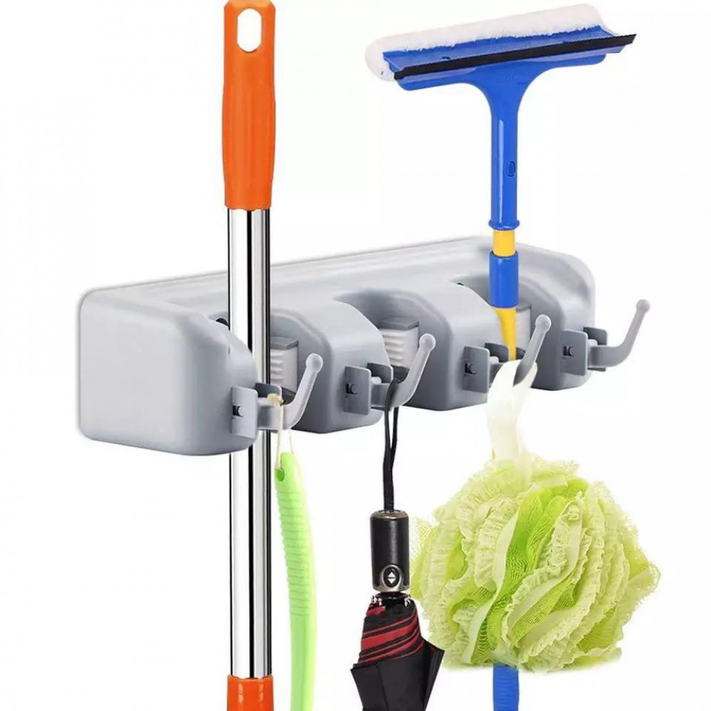 Wall mounted mop and broom holder
