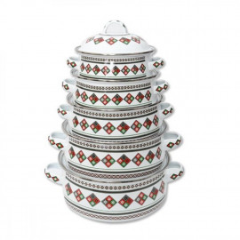 A set of 5 pots, traditional engraving
