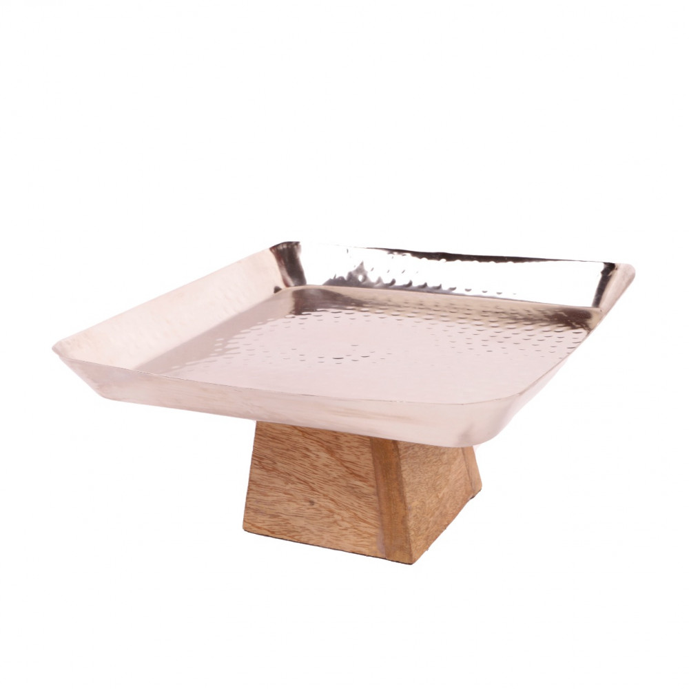 Steel base, wood base, height 11, width 21, middle
